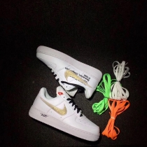 Authentic Off White X Nike Air Force 1 Gold Men And GS