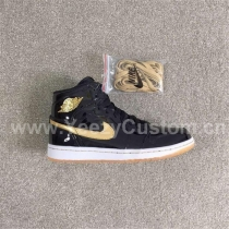 Authentic Air Jordan 1 Black Metallic Gold