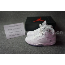 Authentic Air Jordan 5 White/Metallic Silver