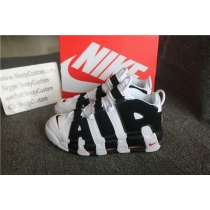 Authentic Nike AIR MORE UPTEMPO Black White Varsity Red Men And GS