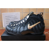 Authentic Nike Air Foamposite Pro Black Metallic Gold