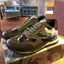 Valentino Studded Suede & Nylon Men and Women Sneakers-045