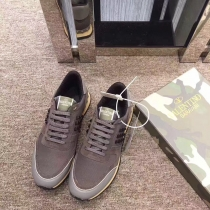 Valentino Studded Suede & Nylon Men and Women Sneakers-008